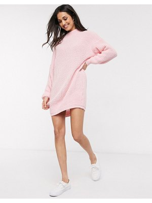 Daisy Street oversized sweater dress with high neck-pink