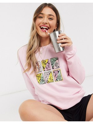 Daisy Street oversized sweatshirt with tarot cards print in pink