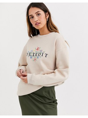 Daisy Street relaxed sweatshirt with vintage detroit print-beige