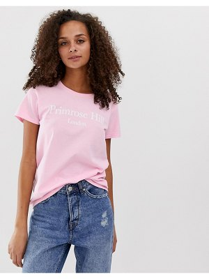 Daisy Street relaxed t-shirt with primrose hill slogan