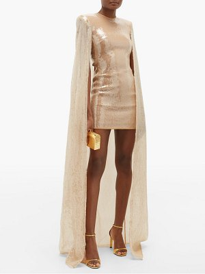 David Koma sequinned caped mini dress