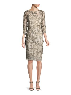 DAVID MEISTER Embellished Floral Three-Quarter Sleeve Dress