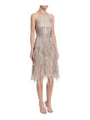 DAVID MEISTER Feather Halter Cocktail Dress
