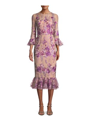 David Meister Floral Embroidered Trumpet-Sleeve Dress w/ Flounce Hem
