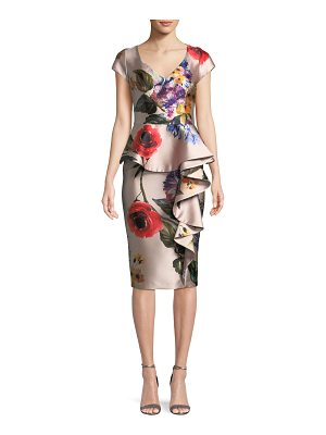 David Meister Floral V-Neck Asymmetric Ruffle Dress
