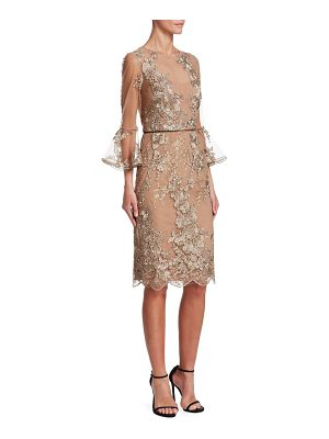 David Meister illusion floral lace sheath dress
