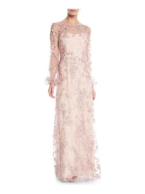 David Meister Long-Sleeve Embroidered Floral Gown