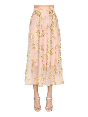 Delpozo Embroidered cape midi skirt w/ sequins
