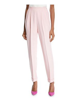 Delpozo Pleated-Front Tapered-Leg Cuffed Hem Pants