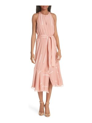 DEREK LAM 10 CROSBY clipped stripe jacquard silk blend dress