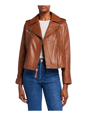 DEREK LAM 10 CROSBY Fitted Lamb Leather Moto Jacket