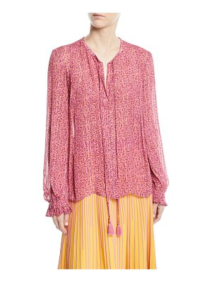 DEREK LAM 10 CROSBY Long-Sleeve Floral Metallic Tie-Neck Blouse
