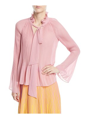DEREK LAM 10 CROSBY Long-Sleeve Pleated Blouse With Ties