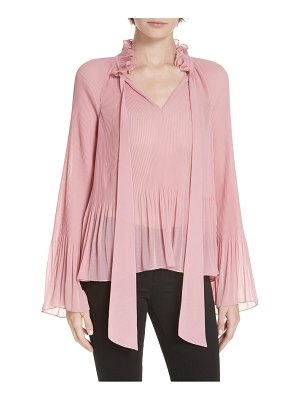 DEREK LAM 10 CROSBY long sleeve pleated tie neck blouse