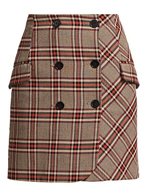 DEREK LAM 10 CROSBY plaid double breasted skirt