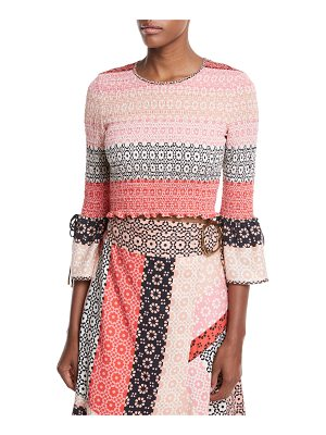 DEREK LAM 10 CROSBY Smocked Long-Sleeve Silk Printed Blouse