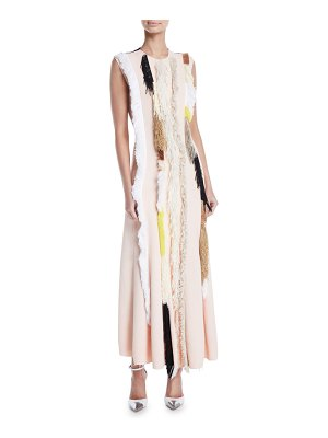Derek Lam Sleeveless Embroidered Two-Tone A-Line Fringe Dress