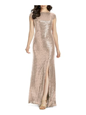 Dessy Collection elle cap sleeve sequin gown
