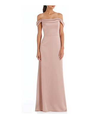 Dessy Collection off the shoulder a-line charmeuse gown
