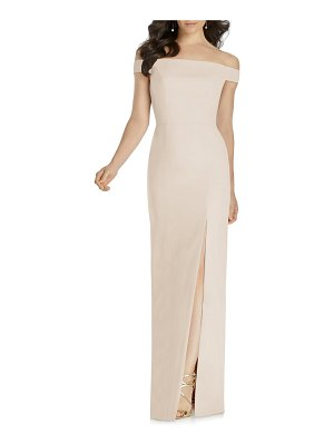 Dessy Collection off the shoulder bow back evening dress