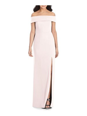 Dessy Collection off the shoulder side slit crepe gown