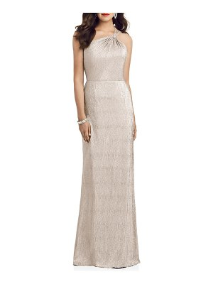 Dessy Collection soho metallic one-shoulder gown