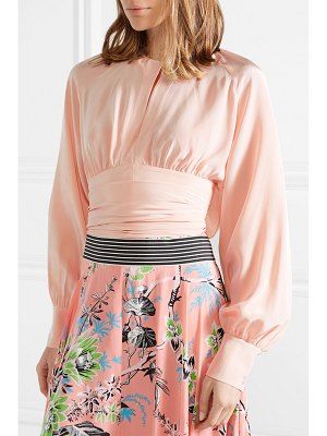 Diane Von Furstenberg gathered cropped silk wrap blouse