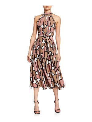 Diane Von Furstenberg Halter-Neck Floral Belted Dress