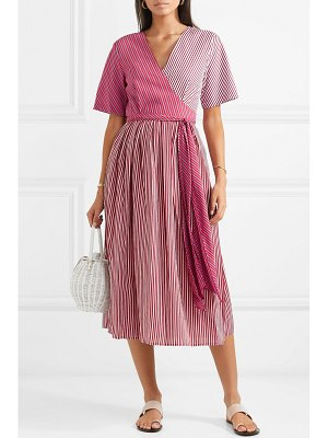 Diane Von Furstenberg paneled striped poplin wrap dress