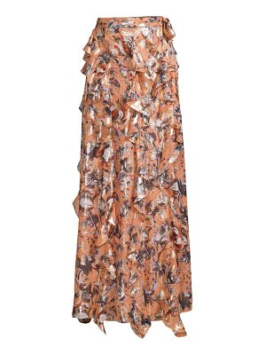 Diane Von Furstenberg salona metallic silk-blend ruffled maxi skirt