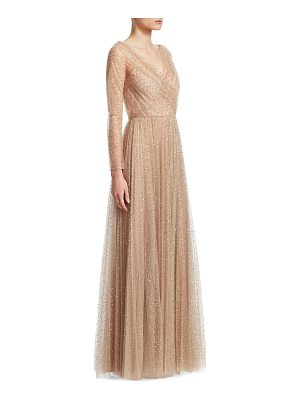 Dior allover sequins long-sleeve v-neck gown