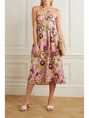 DODO BAR OR karen cutout floral-print jersey halterneck midi dress