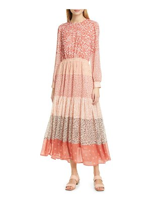 dolan jodie mixed print long sleeve dress