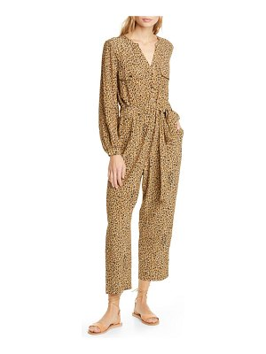 dolan neela cheetah print long sleeve jumpsuit