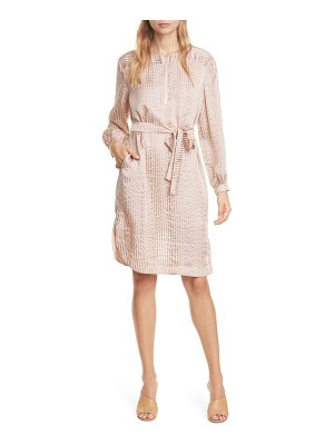 dolan rachel metallic stripe long sleeve silk shirtdress