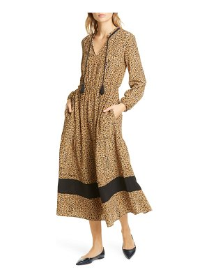 dolan sabine cheetah print long sleeve midi dress