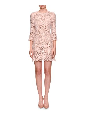 DOLCE & GABBANA 3/4-Sleeve Lace Cocktail Dress