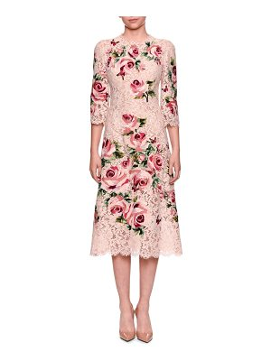 Dolce & Gabbana 3/4-Sleeve Rose Embroidery Heavy Lace Midi Cocktail Dress