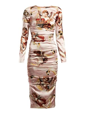 Dolce & Gabbana Angel Print Satin Midi Dress