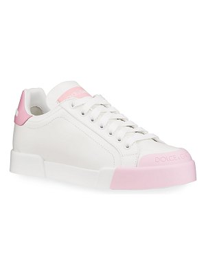 Dolce & Gabbana Bicolor Leather Low-Top Tennis Sneakers
