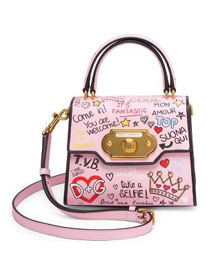 DOLCE & GABBANA Borsapolla Tracolla Graphic Leather Crossbody Bag
