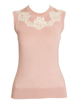 Dolce & Gabbana cashmere & silk-blend knit lace inset top