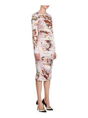 Dolce & Gabbana cherub print satin bodycon dress