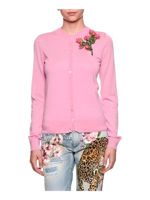 DOLCE & GABBANA Crewneck Button-Front Cashmere Cardigan W/ Rose Patch