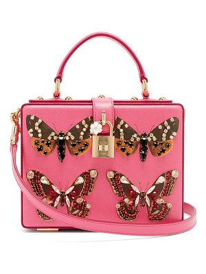 Dolce & Gabbana Crystal And Butterfly Print Leather Box Bag