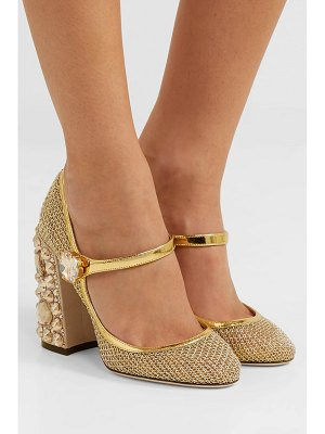 Dolce & Gabbana crystal-embellished metallic mesh mary jane pumps
