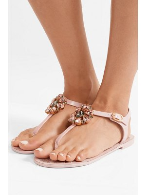 Dolce & Gabbana crystal-embellished rubber and patent-leather sandals