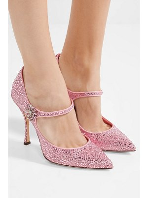 Dolce & Gabbana crystal-embellished satin mary jane pumps
