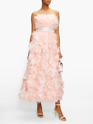 Dolce & Gabbana crystal and feather-embellished silk-organza gown