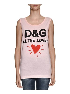 DOLCE & GABBANA D & G All The Lovers Scoop-Neck Sleeveless Cotton Jersey Top